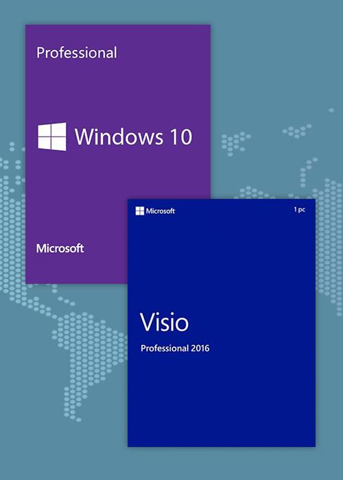 Windows10 Pro OEM + Visio Professional 2016 CD Keys Pack